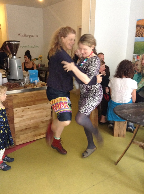 Dancing with Rona at the Galgael Cafe and exhibition space