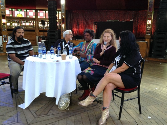 Round table discussion at the Spiegeltent venue with other visiting artists